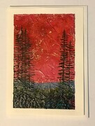 Red sky trees